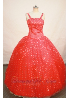 Floral Beading Red Sequin Straps Pageant Dress