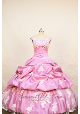 Rose Pink Appliques Ball Gown Little Girl Pageant Dresses