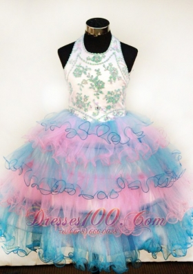 Layered Colorful Girls Pageant Dresses Halter Appliques