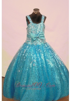 Sequined Bowknot Aqua Blue Junior Miss Pageant Dresses