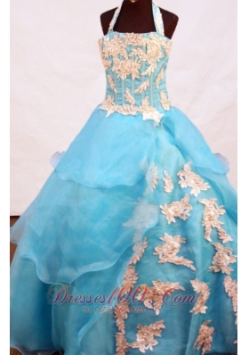 Aqua Blue Appliques Halter Pageant Dresses for Girls