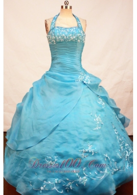 Halter Appliques Miss Teen Pageant Dresses Ball Gown Ruch