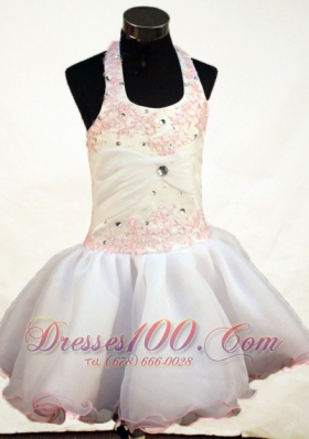 Sweet Appliques Halter Short Pageant Dress for Little Girl
