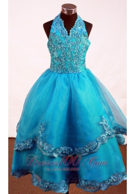 Appliques Dodger Blue Halter Pageant Dresses Gingle Border