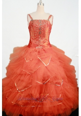 Beaded Straps Orange Red Sweet 15 Dress Ruffles for Gils