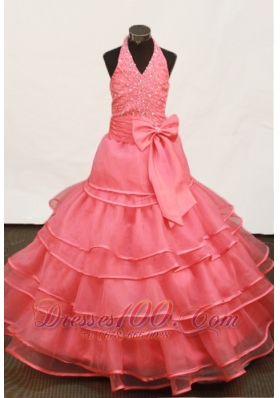 Ruffles Halter Ball Gown Sweet 15 Birthday Dresses Trimmed