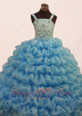 Cute Pick-ups Beading Pageant Gowns for Little Girls Strap