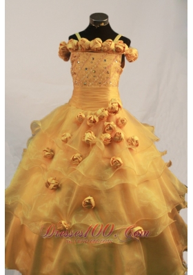 Romantic Gold Handle Flowers Little Girls Formal Dresses