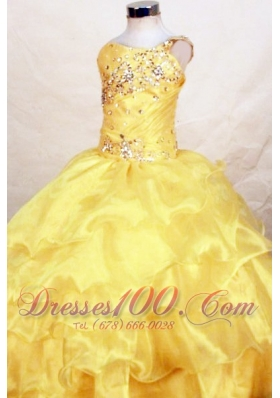 Yellow One Shoulder Ruffles Miss Teen Pageant Dresses Bead