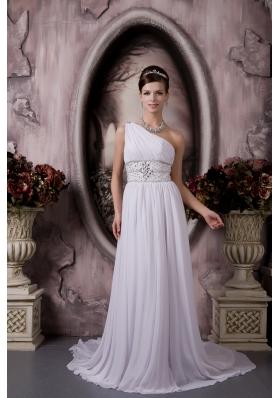 One Shoulder Court Train Chiffon Beaded Wedding Dress