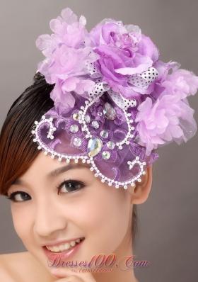 Lavender Wedding Fascinators Rhinestone Flowers