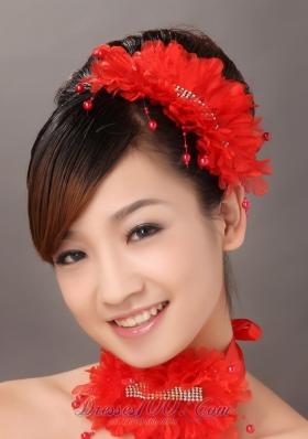 Organza Crystal Wedding headpieces Red