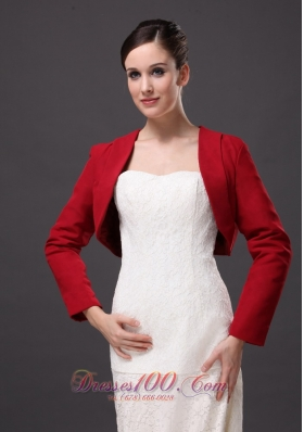 Red Long Sleeves Elegant Jacket for formal