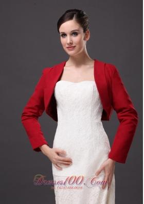 Red Long Sleeves Elegant Jacket for formal