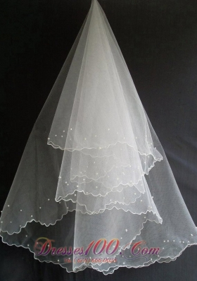 Popular Tulle Wedding Veils Beading Decorate