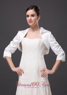 White Satin 3/4 Sleeves Jacket for Popular