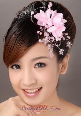 Pink Organza Flower Headpiece with Imitation Pearls
