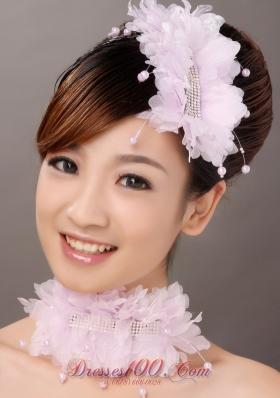 Organza Pink Imitation Pearls Hair Combs Wedding