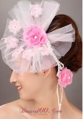 Fashionable Light Pink Headflowers Hand Made Beading