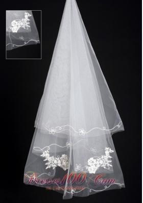Organza Lace Popular Wedding Veils Applique Edge