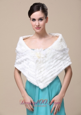 Faux Fur Wedding Shawl for Winter Hand Made Flower