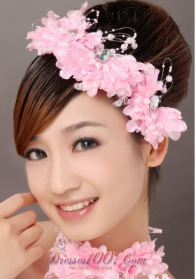 Lovely Pink Flowers Hair Combs Pearls Decorate
