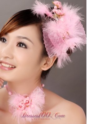 Sassy And Pretty Tulle Feather Headflower Pink