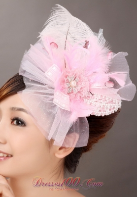 Side Clamp Popular headpiece Pink Feather Diamond