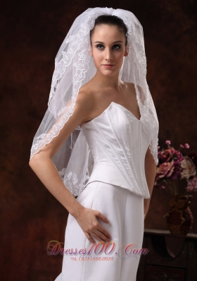 Two-tier Graceful Wedding Veils Embroidery