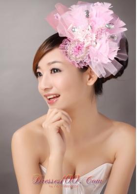 Sweet Pink Tulle Headflowers Beading Feather