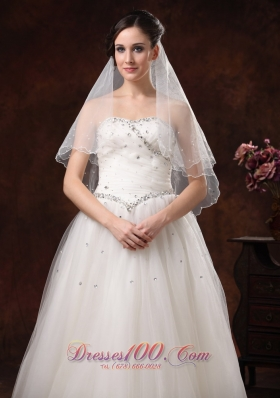 Simple Two-tier Tulle Popular Veils With Beads