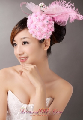 Lovely Side Clamp Headpieces Feather Rhinestone