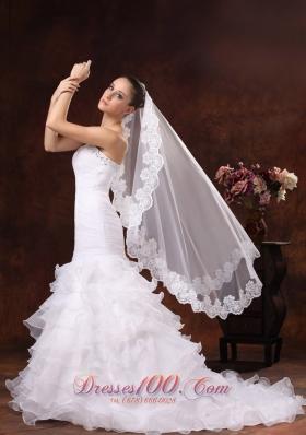 Graceful Tulle Wedding Veils Lace Applique 2013