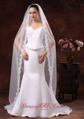 One-tier Cathedral Veil for Wedding Lace Edge