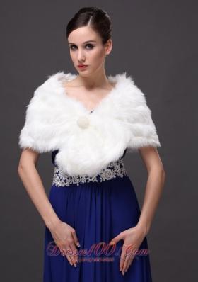 Gorgeous Faux Fur V-neck Wraps Shawls With Button