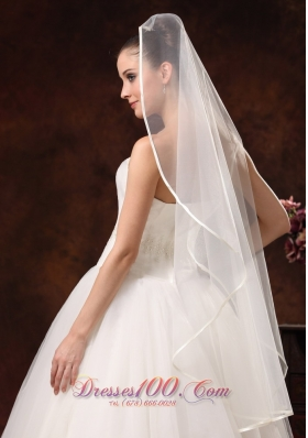 Discount One-tier Organza Wedding Veil Fingertip