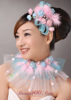 Pink Feather and Blue Net Flower Tiara Headpiece