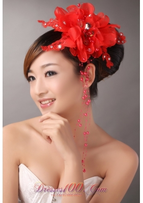 Red Chiffon Feather Headpiece with Beading for Party