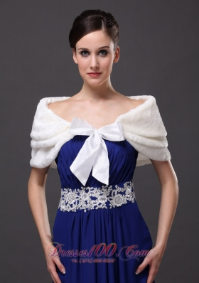 White Bowknot Off Shoulder Prom Shawls