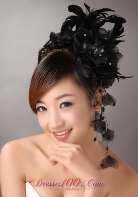 Black Feather and Tulle Headpiece with Beading for Party