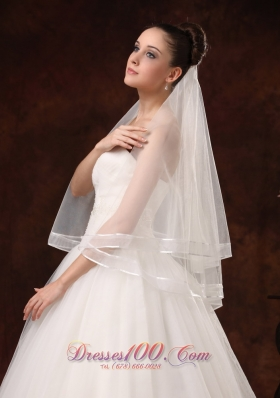 Modernistic Two-tier White Organza Veil for Wedding
