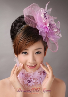 Lavender Headpiece with Appliques Decorate in Tull