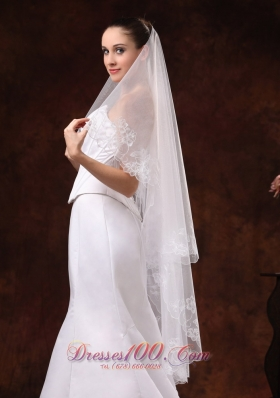 Organza Veil for Wedding Embroidery and Two-tier