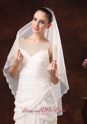 Veil in Two-tier Tulle with Embroidery for Wedding