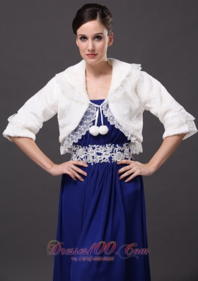 Half-Sleeves Wedding Party Jacket White V-Neck