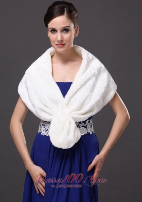 Faux Fur V-Neck White Party and Prom or Cocktail Wrap