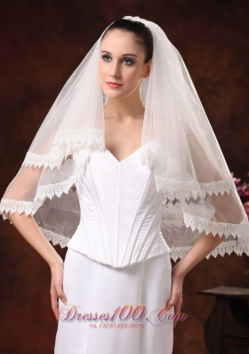 Lace Edge and Tulle Two-tier for Wedding on promotion