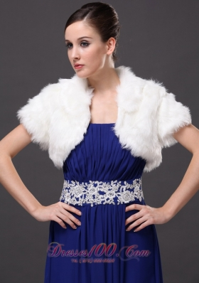 Prom Jacket Faux Fur V-Neck with Short Sleeves White
