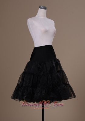 Cocktail Petticoat for Prom in Black Organza Knee-length