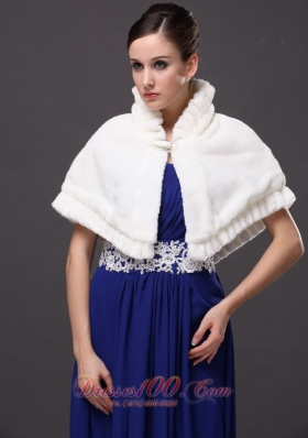 High-Neck Winter Faux Fur White Wedding Party Wrap